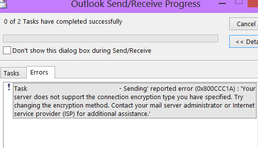How To Fix The Error 0x800ccc1a In Microsoft Outlook